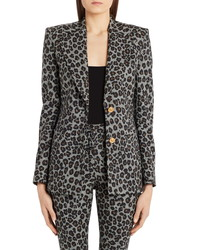 Versace Leopard Houndstooth Check Stretch Wool Blazer