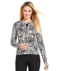 Charter Club Long Sleeve Animal Print Cardigan