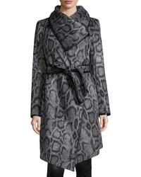 Diane von Furstenberg Polly Animal Print Belted Coat