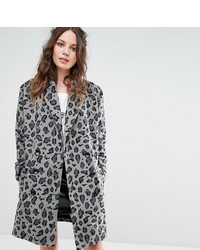 Glamorous Tall Smart Coat In Monochrome Leopard Print