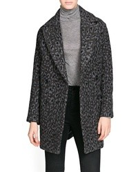 Mango Outlet Oversize Leopard Wool Blend Coat