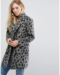Smart coat in monochrome leopard print medium 6369996