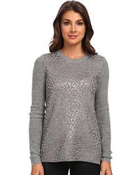 Grey Leopard Crew-neck Sweater