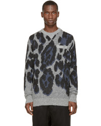 Sacai Grey Blue Leopard Print Sweater