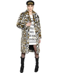 Moschino Leopard Faux Fur Coat