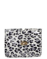 Grey Leopard Leather Clutch