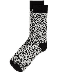 River Island Grey Leopard Print Socks