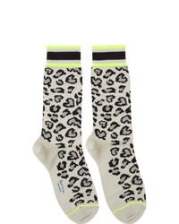 Paul Smith Grey Neon Leopard Socks