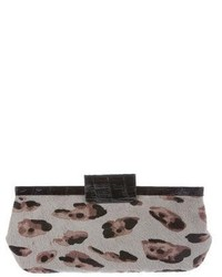 Nancy Gonzalez Crocodile Trimmed Ponyhair Clutch