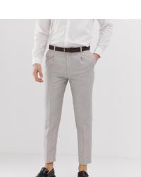 Heart & Dagger Skinny Fit Cropped Pleated Trouser In Linen