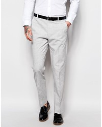 Asos Brand Slim Suit Pants In Gray Nepp Fabric