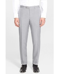 Canali Flat Front Linen Silk Trousers