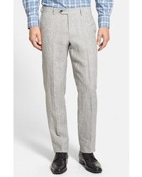 Nordstrom Flat Front Plaid Linen Trousers