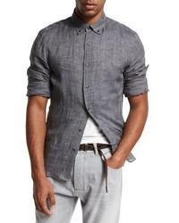 Brunello Cucinelli Linen Leisure Sport Shirt Charcoal