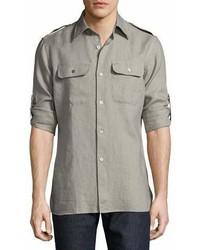 Tom Ford Two Pocket Linen Shirt Gray Green