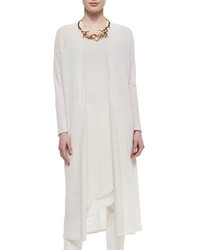 Eileen Fisher Washable Linen Crepe Maxi Cardigan