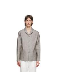 Z Zegna Grey Linen Overshirt Jacket