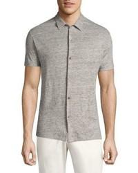 Theory Linen Melange Short Sleeve Button Down Shirt