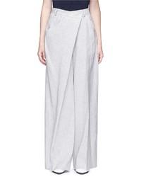 Adeam Deconstructed Stripe Wide Leg Linen Blend Pants