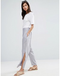 Raw waist band textured linen pants with split medium 3804935