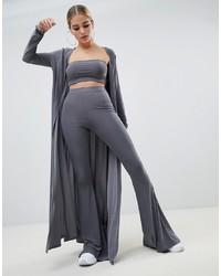 Fashionkilla Maxi Jacket Co Ord In Grey