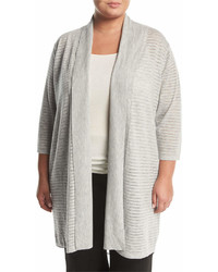 Neiman Marcus Plus Chiffon Trim Long Cardigan Plus Size