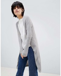 Paisie Fine Knit Ribbed Long Cardigan