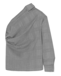 Max Mara Pepaia One Shoulder Prince Of Wales Checked Wool Top
