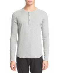 Grey Long Sleeve Henley Shirt