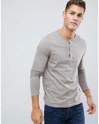 ASOS DESIGN Long Sleeve T Shirt With Grandad Neck In Beige