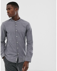 Tom Tailor Grandad Collar Slim Fit Shirt In Grey
