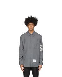 Thom Browne Grey Snap Front 4 Bar Jacket