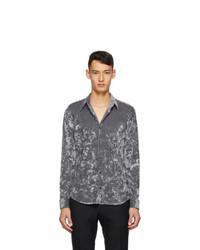 Dries Van Noten Grey Velvet Shirt