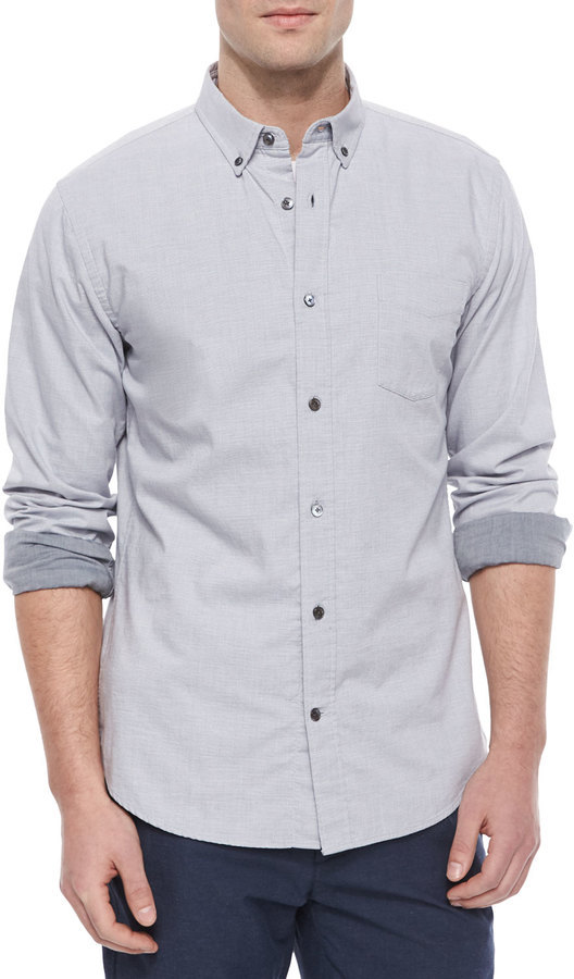 Vince Melrose Long Sleeve Button Up Shirt Light Gray | Where to ...