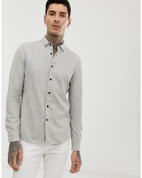 ASOS DESIGN Regular Fit Nep Shirt In Grey