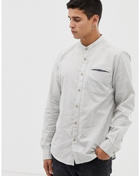Esprit Slim Fit Structured Shirt With Chest Pocked In Grey