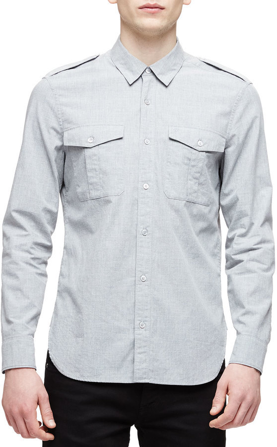 Burberry Solid Long Sleeve Military Shirt Light Gray | Where to ...