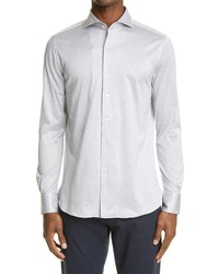 Canali Trim Fit Jersey Button Up Shirt