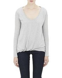 Barneys New York Bubble Hem Long Sleeve T Shirt Grey Size Na