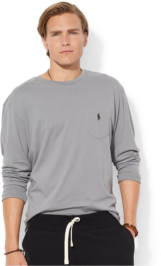 1a28ddd7 $45, Polo Ralph Lauren Classic Fit Long Sleeved Jersey Pocket Crew Neck T  Shirt