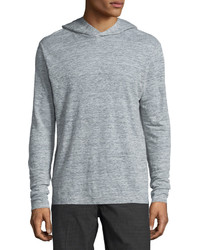 Theory Colton Long Sleeve Hooded Linen T Shirt Light Heather