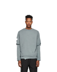 C2h4 Grey Distressed Double Layered Long Sleeve T Shirt
