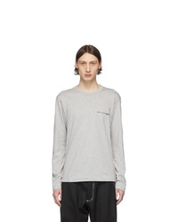 Comme Des Garcons SHIRT Grey Logo Long Sleeve T Shirt