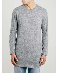 Topman Grey Longline Rib Texture Long Sleeve T Shirt