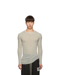 Rick Owens Grey Rib Long Sleeve Rib T Shirt