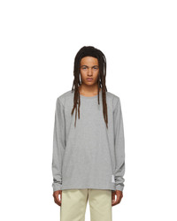 Thom Browne Grey Side Slit Relaxed Fit Long Sleeve T Shirt