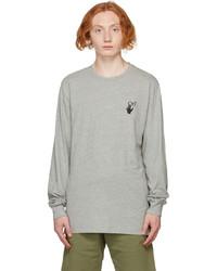 Off-White Grey Slim Degrade Arrow Long Sleeve T Shirt