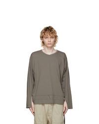 Rick Owens DRKSHDW Grey Varsity Long Sleeve T Shirt