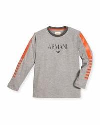 Armani Junior Long Sleeve Cotton Jersey Logo Tee Gray Size 4 12