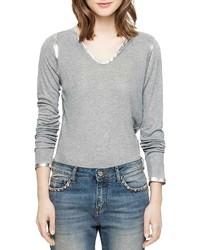 Zadig & Voltaire Long Sleeve Foil Henley T Shirt